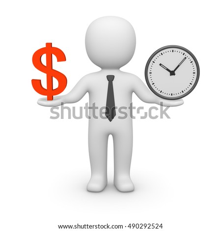 3d man with watch and dollar sign. 3d render.