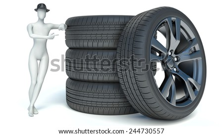 3d man with wheel. 3d image. Isolated white background