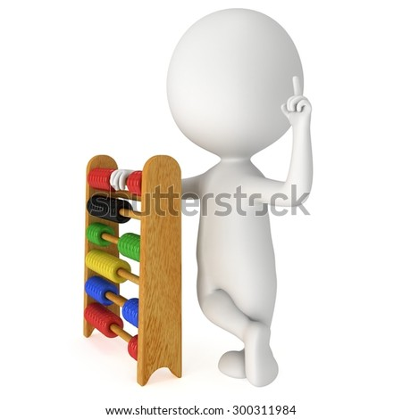 3d man with wooden colorful toy abacus learn counting. 3d render isolated on white. Education concept. - stock photo