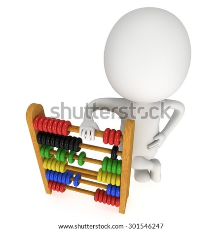 3d man with wooden colorful toy abacus learn counting. 3d render isolated on white. Education concept.
