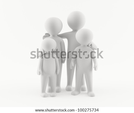 3D man woman and kids. Family portrait - stock photo