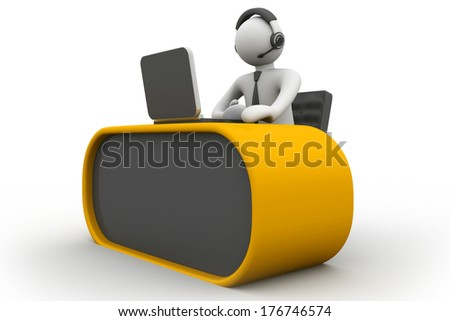 3D man working in a call center - stock photo