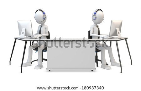 3d man working in a call center on white background - stock photo
