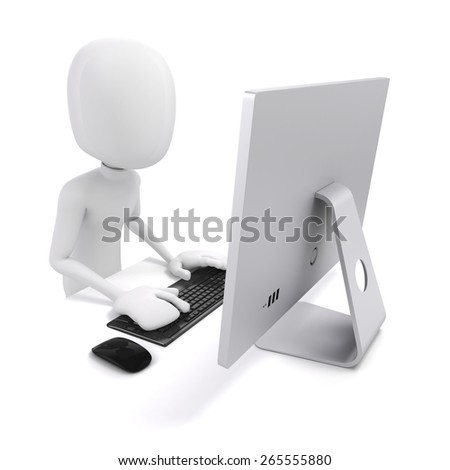 3d man working on computer - stock photo