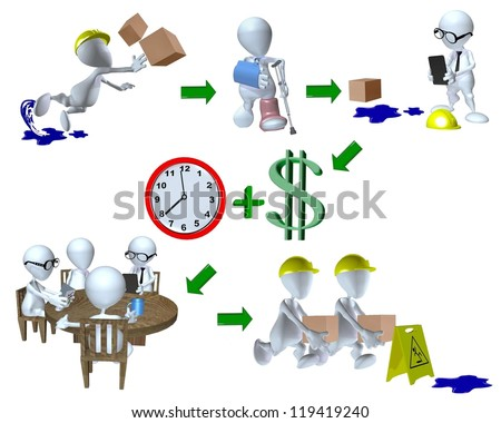 3d man workplace risk management slip and fall injury example - stock photo