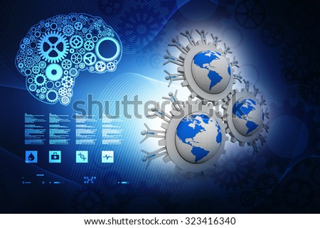3d mans and Globe - stock photo