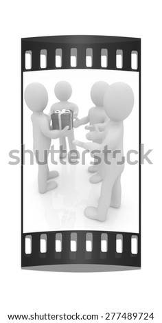 3d mans gives gifts on a white background. The film strip - stock photo