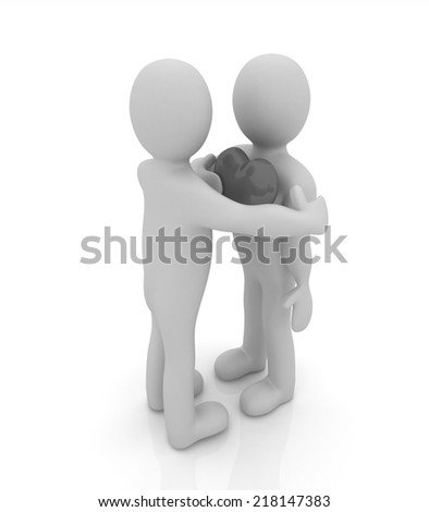 "3d mans holding his hand to his heart and 3d people hug . Concept: ""From the heart"""