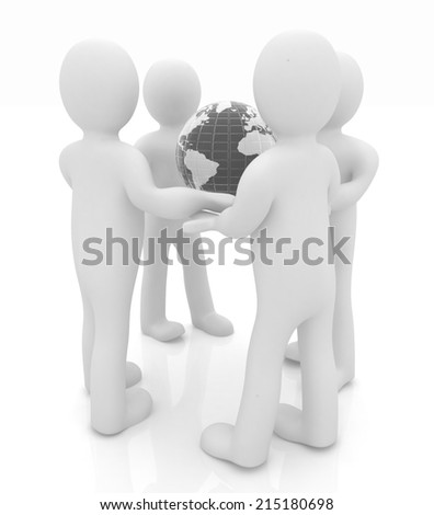 3d mans holding the Globe on a white background - stock photo