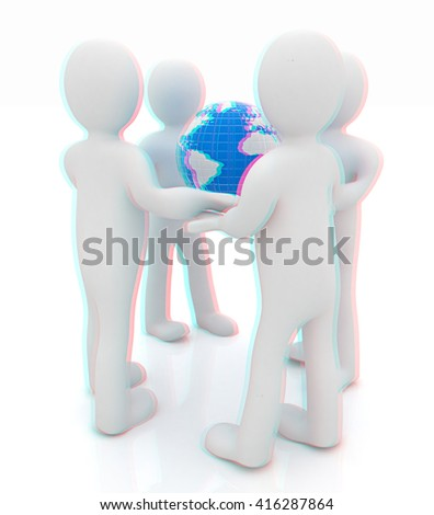 3d mans holding the Globe on a white background. 3D illustration. Anaglyph. View with red/cyan glasses to see in 3D. - stock photo