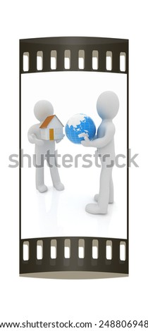 3d mans, houses and earth on a white background. The film strip - stock photo