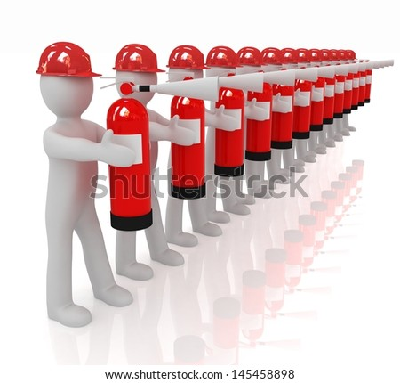 3d mans in hardhat with red fire extinguisher - stock photo