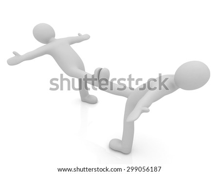 3d mans isolated on white. Series: morning exercises - hands in sides and one leg is exposed forward