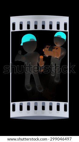 3d mans with a water bottle with clean blue water on a black background. The film strip