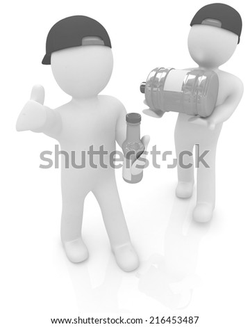 3d mans with a water bottle with clean blue water on a white background