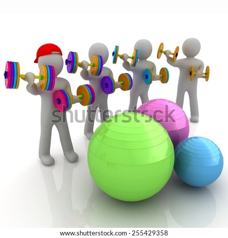 3d mans with fitness balls and dumbells - stock photo