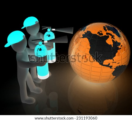 3d mans with red fire extinguisher extinguish earth on a black background - stock photo