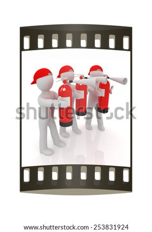 3d mans with red fire extinguisher on a white background. The film strip - stock photo