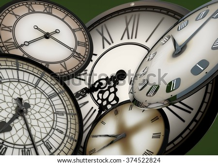 3d Many clocks floating in abstract space moving forward in time, on green background