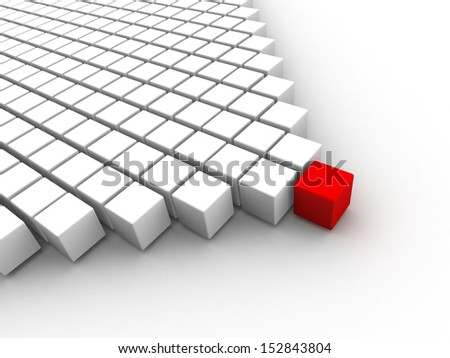 3D many white cubes on a white background