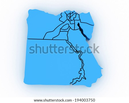 3d map Egypt with regions - stock photo