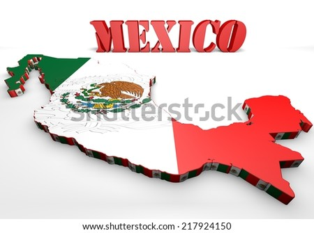 3d map illustration of Mexico with flag and coat of arms