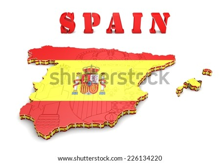 3D map illustration of SPAIN with flag