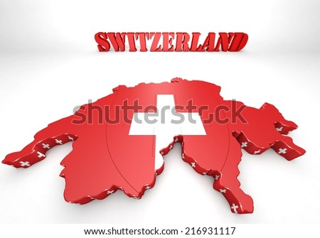 3D Map illustration of Switzerland with flag