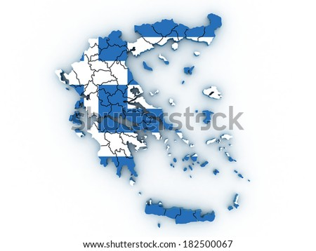 3d Map of administrative divisions of Greece with the capital cities
