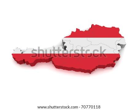 3D Map of Austria - stock photo