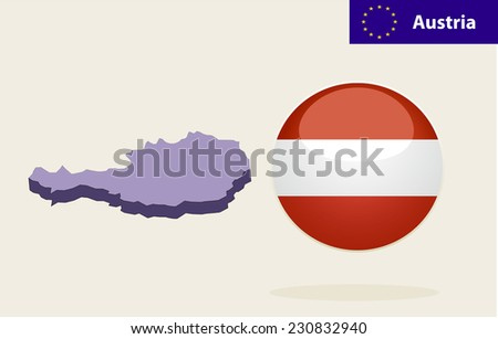 3D Map of Austria.Austria Flag Glossy Button