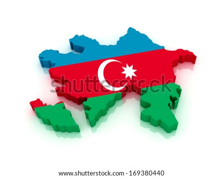 3d map of Azerbaijan in national flag colors - stock photo