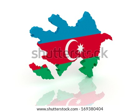 3d map of Azerbaijan with flag - stock photo