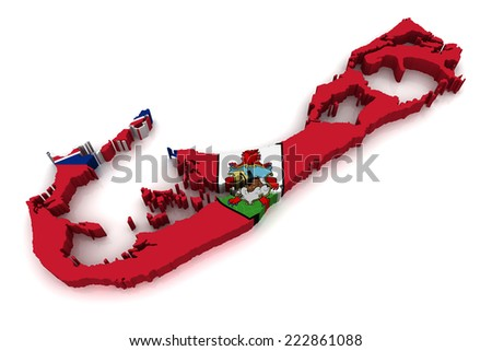 3D map of Bermuda - stock photo