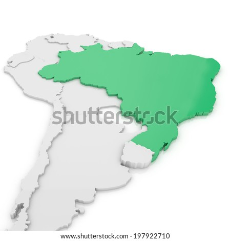 3D Map of Brazil in South America - stock photo