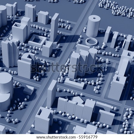 3d map of city in sepia tones - stock photo
