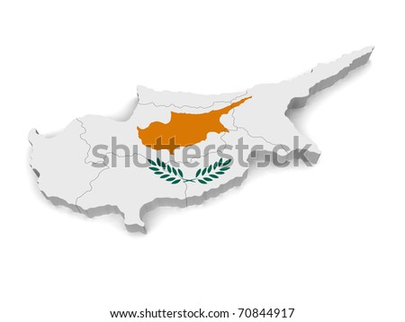 3d Map Of Cyprus - stock photo