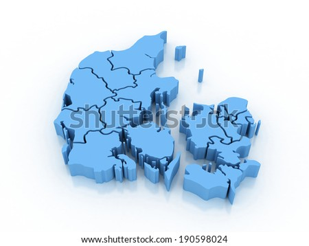 3D map of Denmark - stock photo