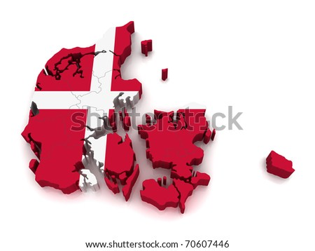 3D Map of Denmark - stock photo