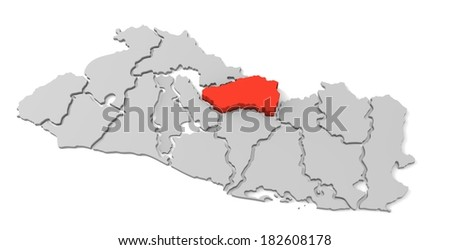 3d map of el salvador, with the separate departments, especially in cabanas, states, infographic  - stock photo