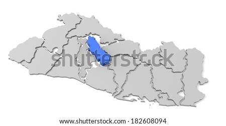 3d map of el salvador, with the separate departments, especially in cuscatlan, states, infographic  - stock photo