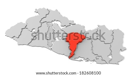 3d map of el salvador, with the separate departments, especially in San vicente, states, infographic  - stock photo