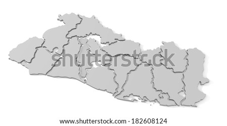 3d map of el salvador, with the separate departments, states, infographic  - stock photo