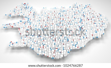 3D Map of Iceland - Europe | 3d Rendering, mosaic of little bricks - White and flag colors