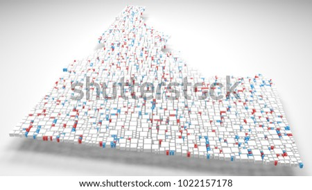 3D Map of Idaho - USA | 3d Rendering, mosaic of little bricks - White and flag colors