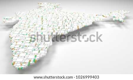 3D Map of India - Asia | 3d Rendering, mosaic of little bricks - White and flag colors