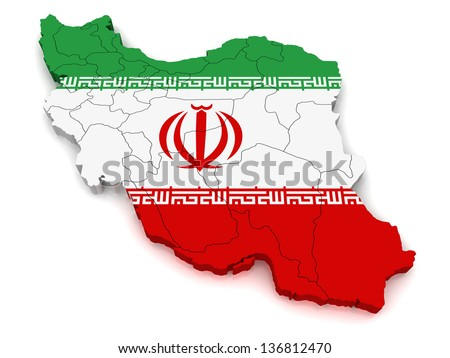 3D Map of Iran - stock photo