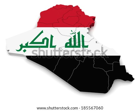3D map of Iraq - stock photo