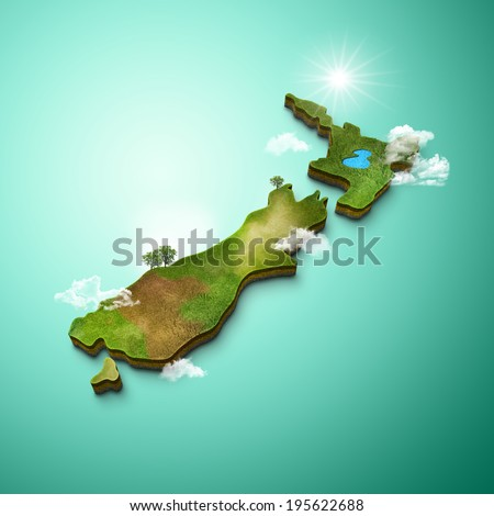 3D Map of New Zealand - stock photo