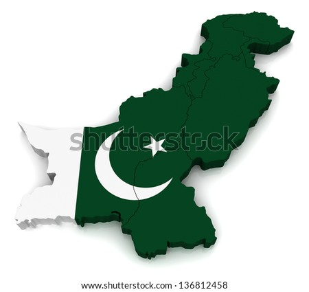 3D map of Pakistan - stock photo